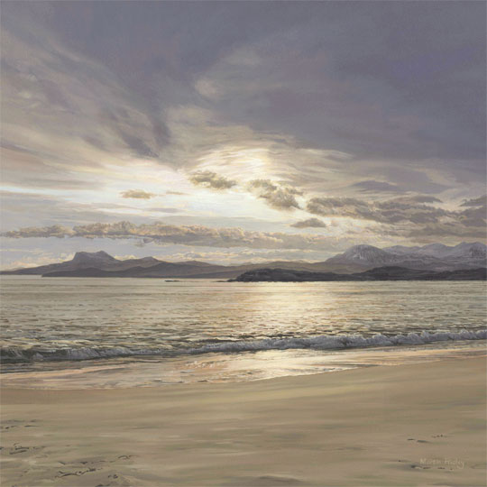 Melon Udrigle Beach, near Laide, Poolewe and Gairloch, Wester Ross. View to An Teallach and Beinn Ghobhlach (left) - original oil painting by Martin Ridley